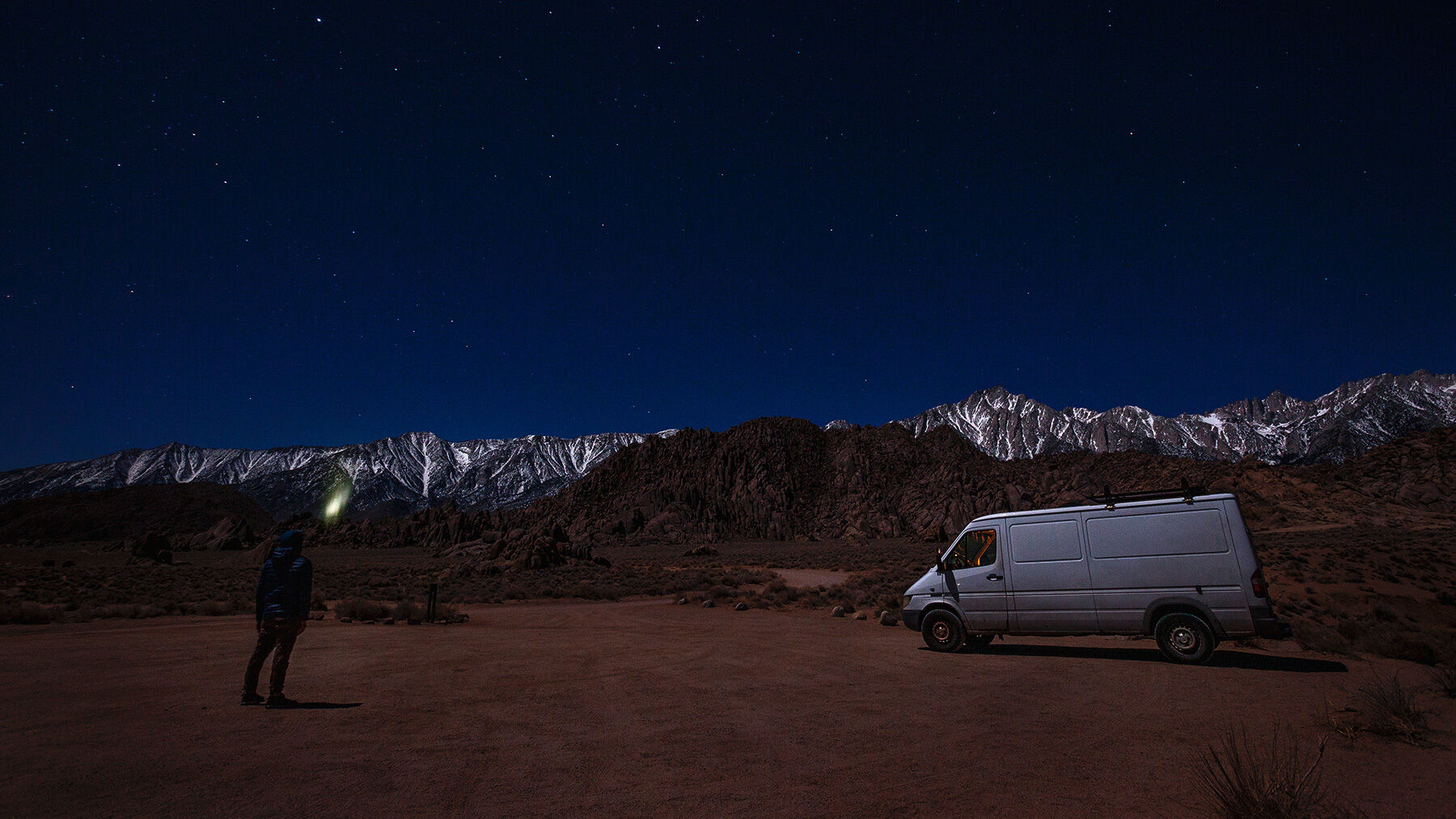 Starry sky over the the Eastern Sierra Mountains in the Alabama Hills, California