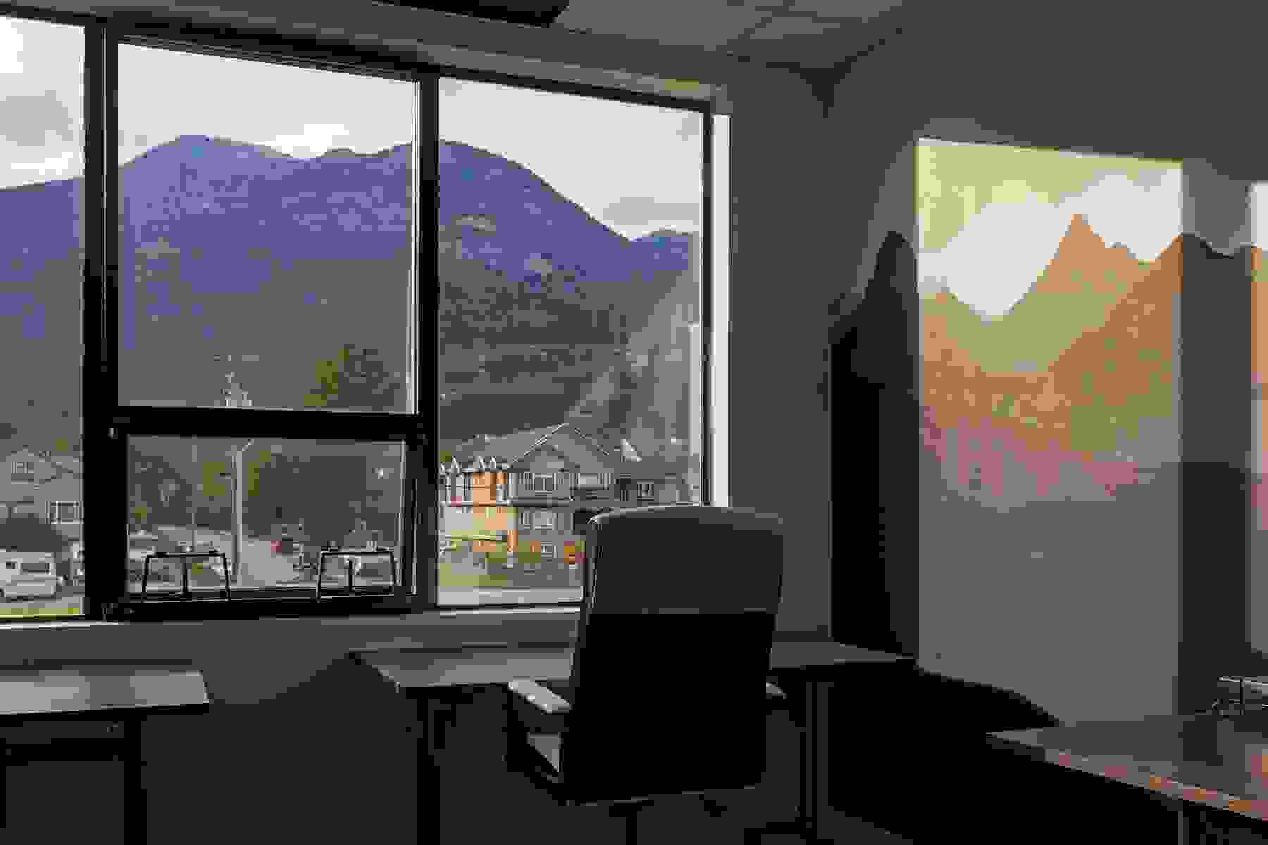 View of the mountains of Squamish, B.C., Canada, from an office